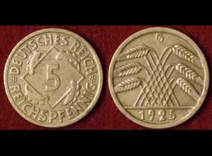 5 Reichs-Pfennig Weimar DR 1925 G Jäger Nr. 316 (9808