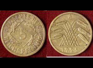 5 Reichs-Pfennig DR 1925 A Jäger Nr. 316 (9810