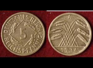 5 Reichs-Pfennig DR 1936 A Jäger Nr. 316 (9811