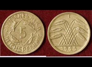 5 Reichs-Pfennig DR 1925 E Jäger Nr. 316 (9815