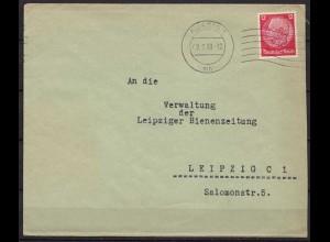 Aussig Maschinenstempel Brief nach Leipzig 1939 (9881