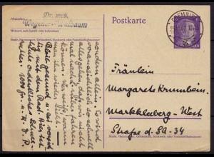 Chemnitz Hitler WW2 Ganzsache nach Markkleeberg 1942 (9885