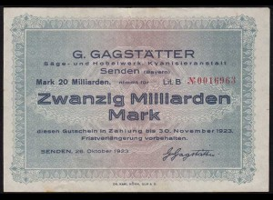 Bayern - Senden 20 Milliarden Mark 1923 Gagstätter Säge und Hobelwerk VF (14738