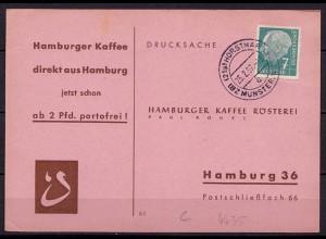 Bundesrepublik Karte Horstmar Bezirk Münster nach Hamburg Kaffee 1957 (10194