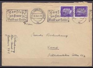 Berlin Charlottenburg Automatenstempel 1942 Vorsicht Feuer nach Kassel (10253