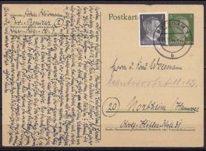 Potsdam Ganzsache 1944 WW2 nach Northeim / Hannover (10301