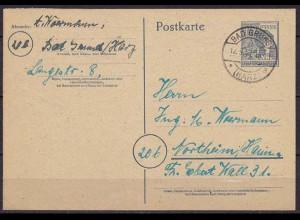 Bad Grund - Norheim/Hannover 12.9.1947 Ganzsache Alliierte Besetzung (10304