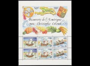 Monaco EUROPA CEPT Klbg. 1992 Block 55 postfrisch Schiffe Columbus (10957