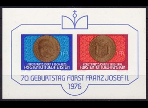 LIECHTENSTEIN 1976 Block 10 Geburtstag Fürst Franz Josef II. postfrisch (10983