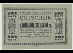 Westfalen - Klöckner Werke Zeche Werne 500 Tausend Mark 1923 (11047
