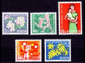 Schweiz Swiss Switzerland Mi. 758-762 Pro Juventute 1962 ** (11205