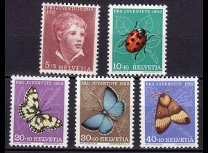 Schweiz - Switzerland Mi. 575-579 ** Pro Juventute 1952 Insekten Schmetterlinge
