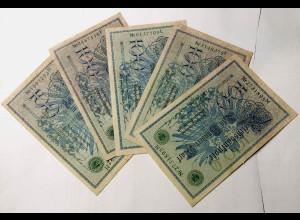 5 Stück Reichsbanknote 100 Mark 1908 Rosenberg 34 - XF Eh. II (11422