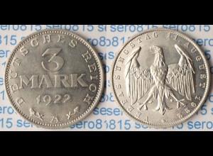 3 Mark Deutsches Reich Jäger Nr. 303 1922 A (p566