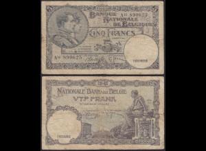 Belgien - Belgium 5 Francs Banknote 15.04.1938 Pick 108 gebraucht (13904