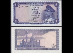 BRUNEI - 1 Ringit Banknote 1967 VF/XF Pick 1a SULTAN OMAR ALI Saif Uddin III