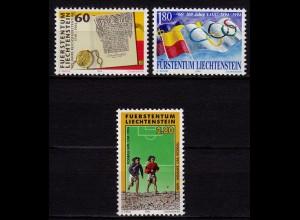 275 Jahre Liechtenstein 1994 Mi.1081-83 ** unter Postpreis (c066