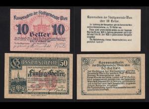 Österreich - Austria 10 + 50 Heller Wien 1920 Notgeld (16530
