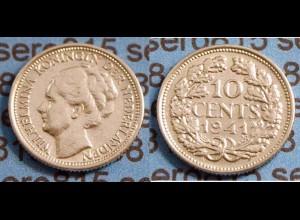 Niederlande NEDERLAND 10 Cent Silber 1941 (b477