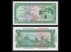 Macau - 5 Petacas Banknote 8-8-1981 Pick 58c UNC Serie AY (16525