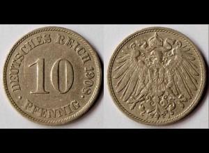 10 Pfennig Kaiserreich EMPIRE 1908 J - Jäger 13 (r329