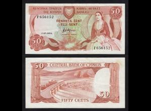 Zypern - Cyprus 50 Cents Banknote 1984 VF+ Pick 49 (16563