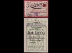 Westfalen - Bielefeld/ Münster Kriegs-Notgeld 1918 Sparkassen + Landesbank (c602
