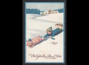 AK Neujahr Neues Jahr Kinder Schwein Eis Schnee (16697
