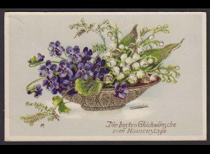 AK Namenstag Blumen Schale Golddruck (16724