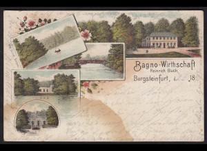 AK Litho Gruss aus Burgsteinfurt Bagno Wirtschaft 1896 (16816