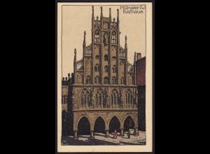 AK Münster Westfalen Künster Steindruck Feldpost 1918 nach Halle (16875