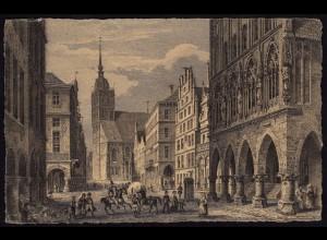 AK Münster Westfalen Stahlstich Prinzipalmarkt 1842 (16878