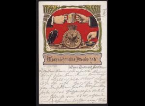 AK Im Fass zu Dortmund Woran ich Freude hab 1893 H. Ruhfus SELTEN (16933