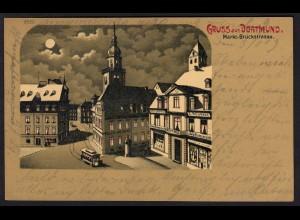 AK Mondschein-Litho Gruss aus Dortmund Markt-Brückenstrasse 1903 (16937