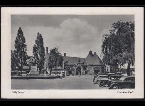 AK Herford Bahnhof Autos Oldtimer (17054