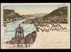 AK Litho Porta Westfalica b.Minden gestempelt Wittekindsberg Porta 1898 (17066