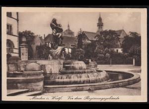 AK Minden Westfalen Brunnen vor dem Regierungsgebäude (17067
