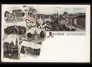 AK Litho Gruss aus Burtscheid Aachen ungebraucht mit Kaiserplatz (17080