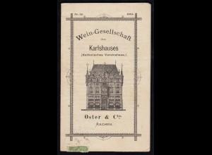 Wein-Gesellschaft Aachen des Karlshauses mit Preisliste von 1884 (17082