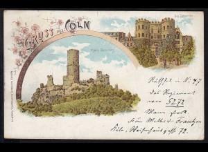 AK Litho Gruss aus Cöln Köln 1898 nach Magdeburg (17084