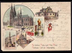 AK Litho Gruss aus Cöln Köln mit Maria Capitol 1897 (17091
