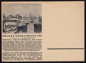 AK Werbekarte Köln Herbstmesse 1951 Haushalt Eisenwaren (17105
