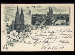 AK Litho Gruss aus Cöln Köln 1898 nach Kreuznach (17108