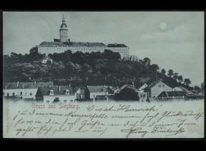 AK Gruss aus Siegburg 1898 nach Münster Gesamtansicht Mondschein (17114