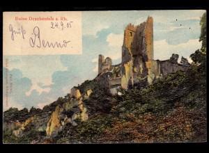 AK Drachenfels Ruine seltene erhabene Prägekarte 1905 (17132