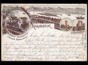 AK Litho Gruss aus Rolandseck Bahnhof J.Schmitt Restaurateur 1894 (17138