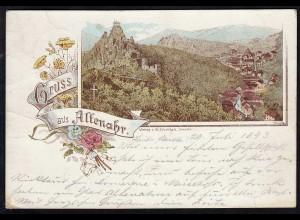 AK Frühes Litho aus Altenahr 30.7.1893 nach Kreuznach (17153