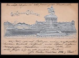 AK Litho Silber-Druck Coblenz 1897 nach Lingen selten (17158