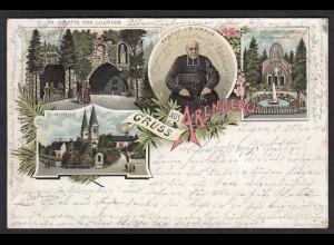 AK Litho Arenberg bei Koblenz 1896 Grotte von Lourdes etc n.Lingen (17165