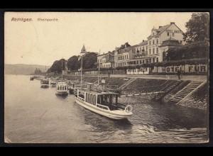 AK Remagen Rheinpartie Hotel Anker Schiffe 1916 Feldpost (17167
